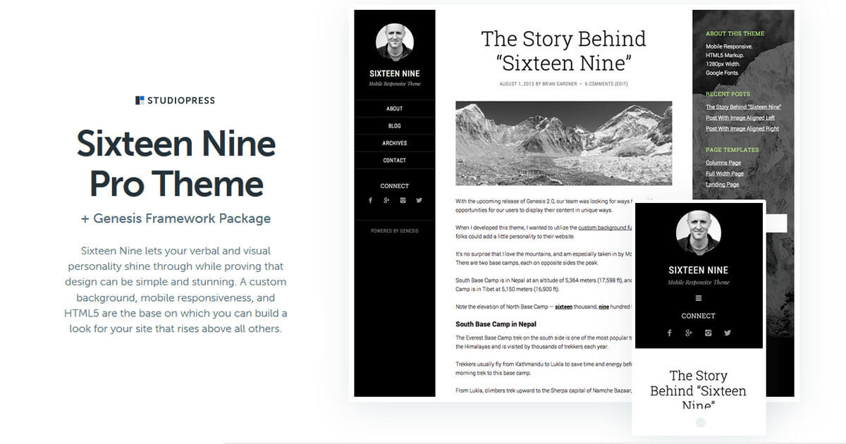 Sixteen Nine Pro Theme Download