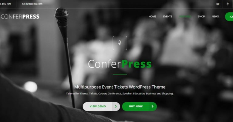 ConferPress - Multipurpose Event Tickets WordPress Theme Nulled Free Download-WpGenuine